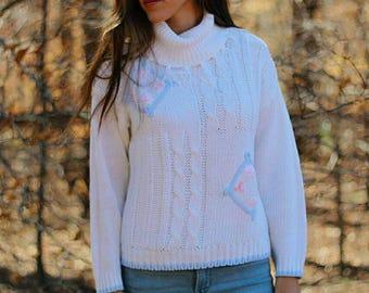 White 1990s grandma fringe tuetleneck hand loomed sweater