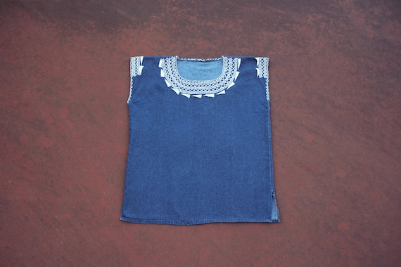 1970s vintage denim embroidered mexican blouse