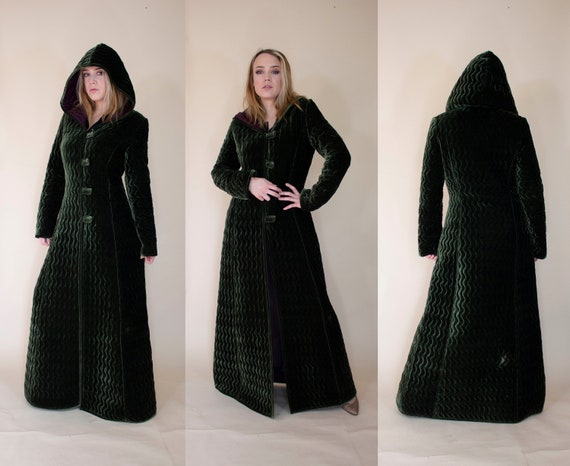 vintage 1980s long velvet hooded coat 30s 40s styl