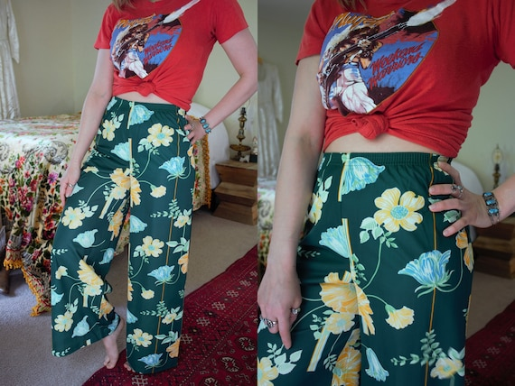 vintage 1970s novelty floral bell bottoms