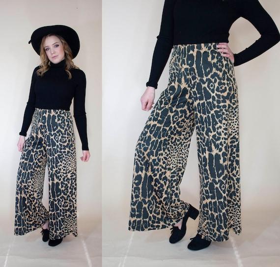 vintage 1970s super wide leg pants leopard print … - image 2