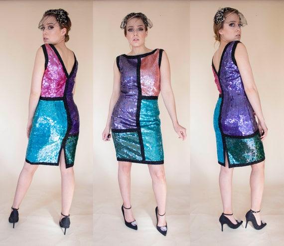 80s does 60s sequin trophy dress