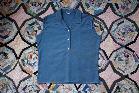 vintage 1950s denim blue chambray sleeveless top