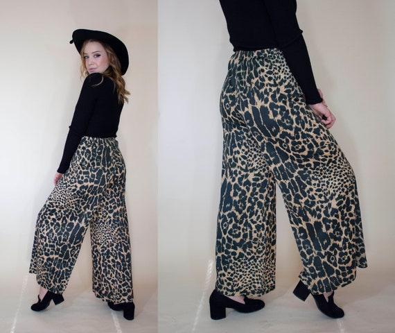 vintage 1970s super wide leg pants leopard print … - image 4
