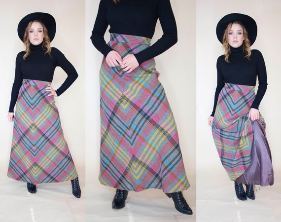 vintage 1970s wool plaid maxi skirt with liner - image 1