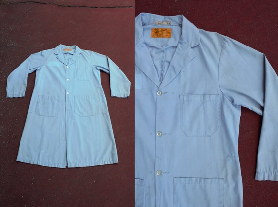 vintage 1960s faded blue work duster coverall
