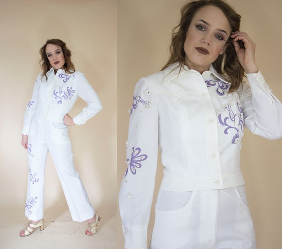white and purple floral 1970s western suit
