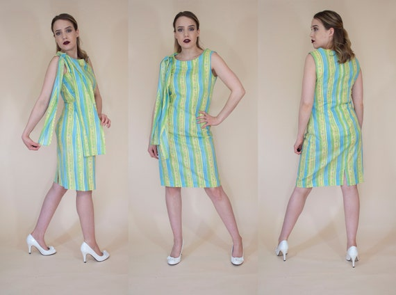 vintage 1950s 1960s cotton novelty  wiggle dress