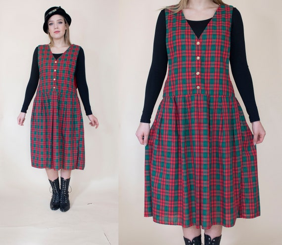 vintage 1980s drop waist pinafore dress