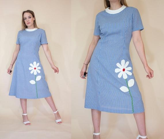 vintage 1960s applique cotton sun dress 60s