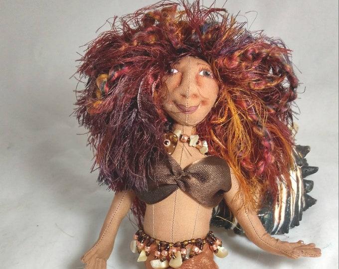 Art Doll-Brona the Small Mermaid OOAK Cloth Doll
