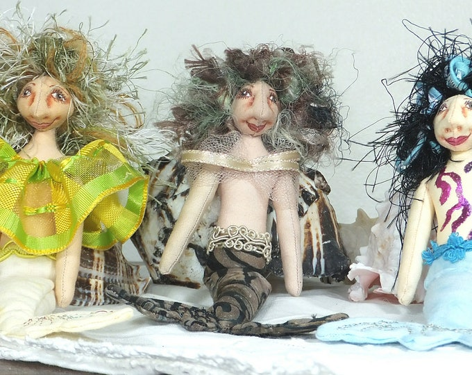 Mini Mermaids-OOAK Art Cloth Doll