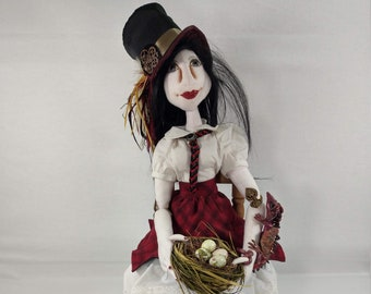 Art Doll - Annika the Dragon Sitter an OOAK Cloth Art Doll