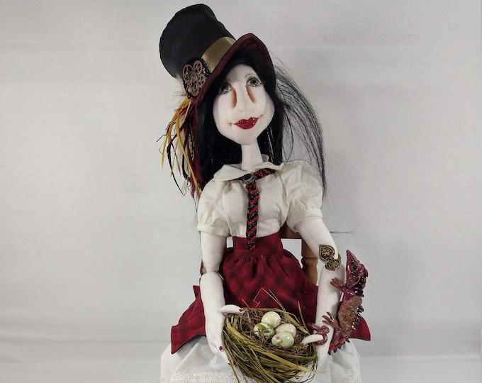 Art Doll - Annika the Dragon Sitter an OOAK Cloth Art Doll
