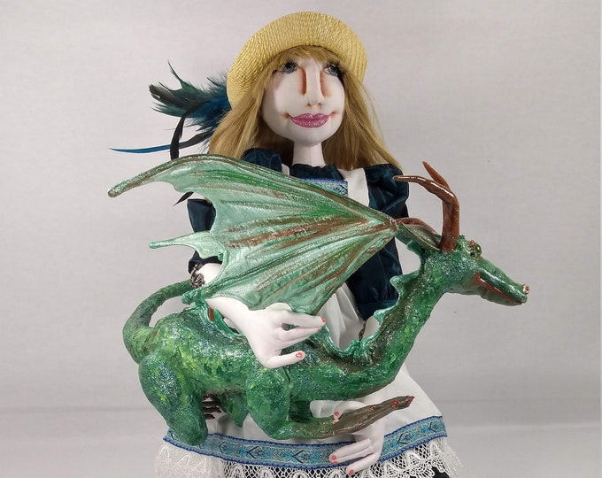 Art Doll-Avery and Mabel the Dragon Besties, an OOAK Cloth Art Doll