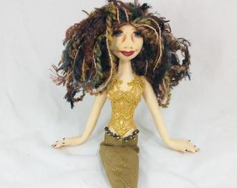 Art Doll-Riva the Medium Mermaid OOAK Cloth Doll