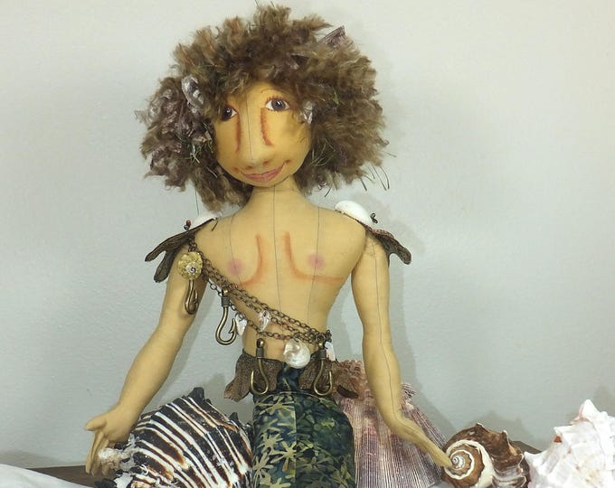 Art Doll-Jasper the Merman OOAK Cloth Doll