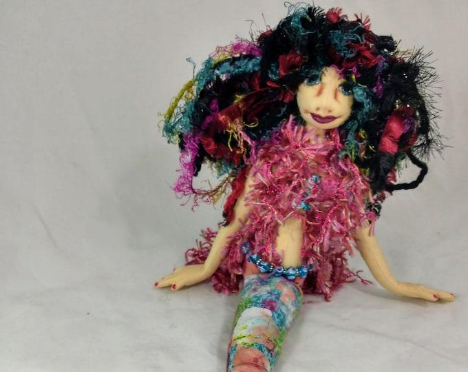 Art Doll-Nixie the Medium Mermaid OOAK Cloth Doll