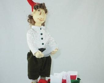 Art Doll-Carl the Elf OOAK Cloth Doll