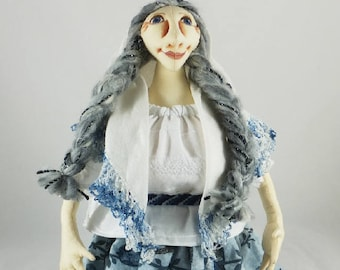 Art Doll-Gina the Great Generation Cloth Doll, OOAK Doll, Handmade Doll, Collector Doll