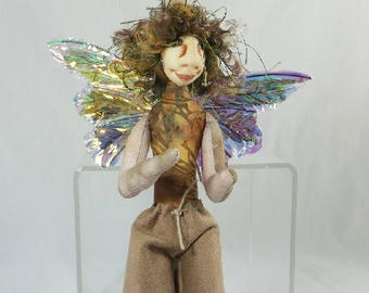 Art Doll-Gus the Sprite OOAK Cloth Doll Faery