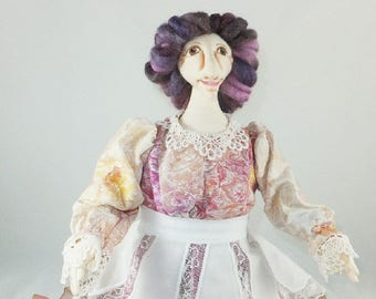 Art Doll - Agatha the Great Generation Cloth Doll, OOAK Doll, Handmade Doll, Collector Doll