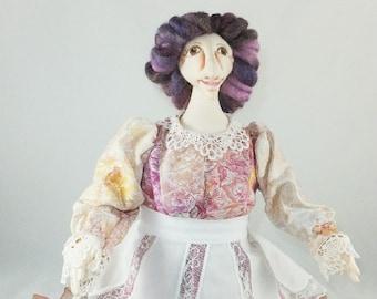 Art Doll-Agatha the Great Generation Cloth Doll, OOAK Doll, Handmade Doll, Collector Doll