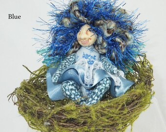 Pocket Pixie in a Nest-OOAK Art Doll