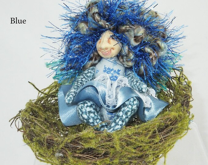Pocket Pixie in a Nest-OOAK Art Doll