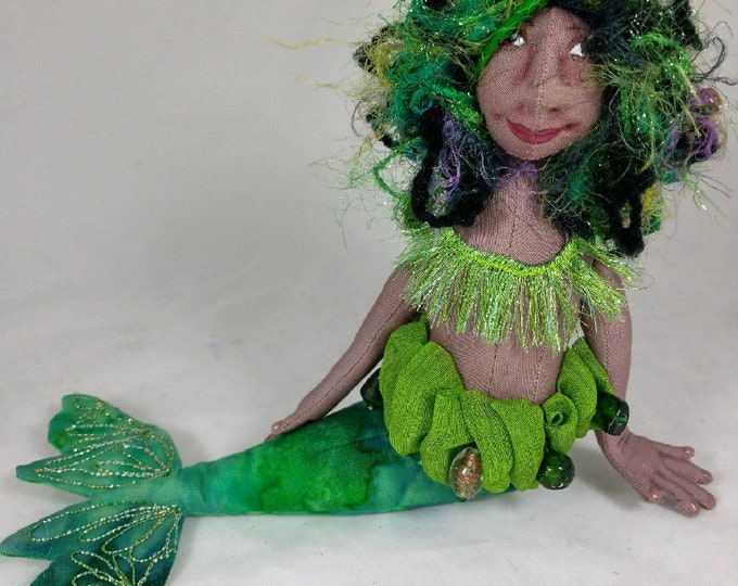 Art Doll-Honna the Small Mermaid OOAK Cloth Doll