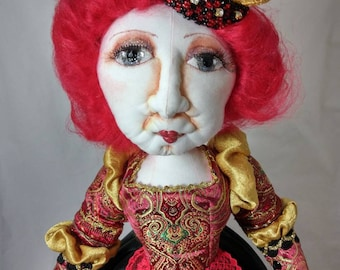 Art Doll-Queen of Hearts, an OOAK Cloth Art Doll