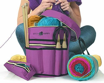 07bd4c2ca3 Knitting Bag - Yarn Organizer For All Your Knitting Accessories With Bonus  Crochet Hook Case - 6 Colors