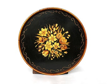 Antique Round Tole Tray, Hand Painted Floral Toleware, Vintage Decorative Tray, Modern Farmhouse House Decor