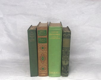 Vintage Green & Brown Book Bundle for Home or Office Decor, Decorative Book Stack for Event Staging Prop
