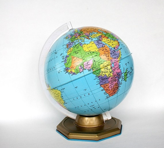 World Globe Office Desk Decor Vintage Toy Earth Globe | Etsy