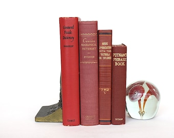 Vintage Decorative Red Book Bundle, Library Office Shelf Accent, Wedding Decor Prop, Table Decorations, Reference Book Set