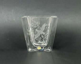 Skruf Sweden Glass Vase with Etched Bird Design for Home Decor Birdwatcher Gift Idea, Vintage Scandinavian Art Glass Vase