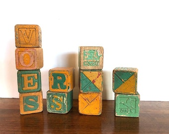 Vintage Wooden Blocks - Vintage Alphabet Blocks - Rustic Home Decor - Yellow & Green Decor - Old Wooden Block Letters - Wood Block Toy Decor