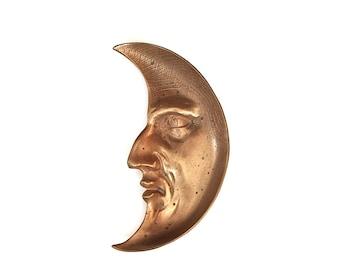 Crescent Moon Antique Bronze Art Nouveau Dresser Tray, Vintage Bedroom Boudoir Decor, Vintage Jewelry Dish Trinket Tray