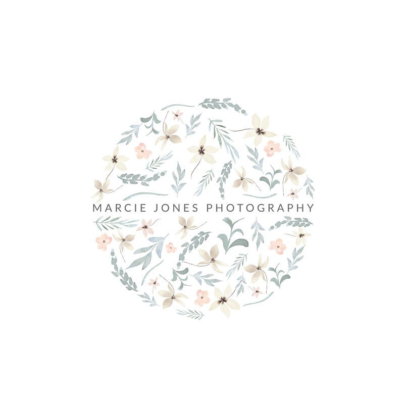 Photography Logo and Watermark Design  Watercolor floral image 0