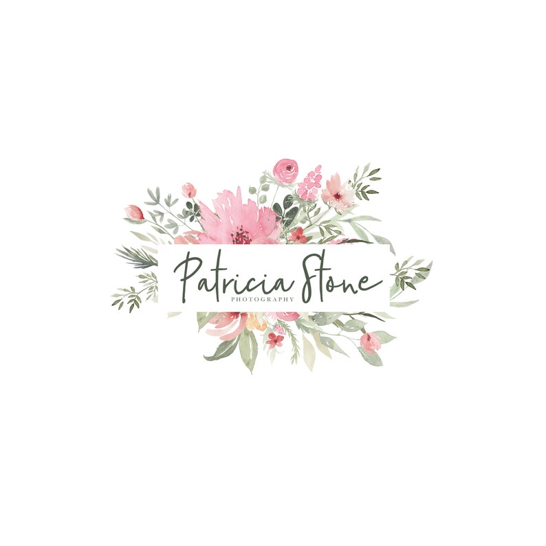 Watercolor Flower Logo  Premade Photography Logo and image 0