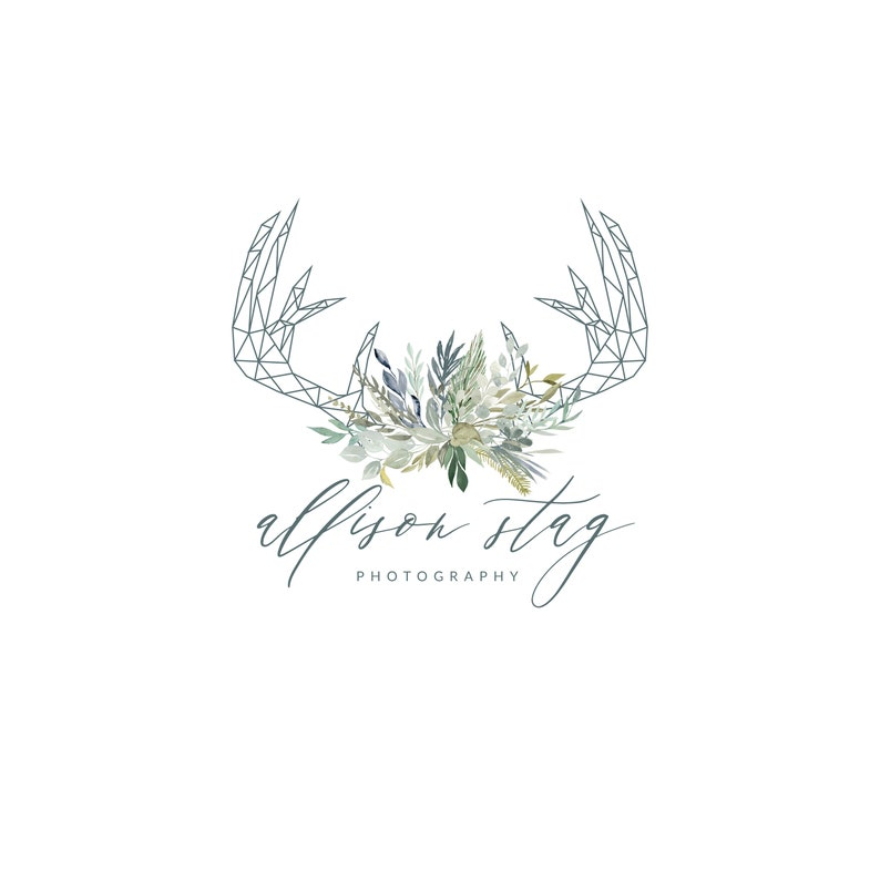 Premade Geometric Antlers & Watercolor Logo  Photography Logo image 0