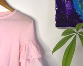 Vintage cotton candy pink cotton t shirt with ruffle fiesta sleeves