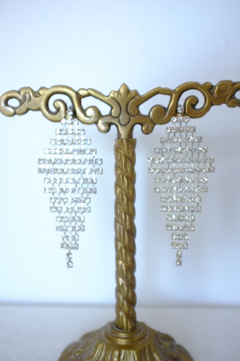 Vintage Art Deco Diamond Crystal Costume Chandelier Earrings