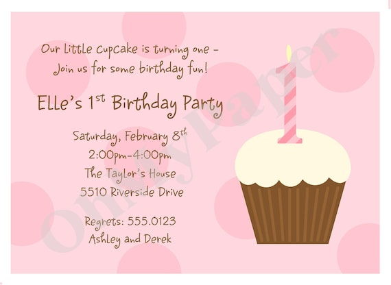 Pink or blue first birthday cupcake invitations etsy image 0 filmwisefo