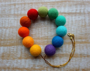 Rainbow Necklace, Felt Necklace, Wool Necklace, Felt Jewelry, Eco Jewelry, Beaded Necklace, Colorful Necklace