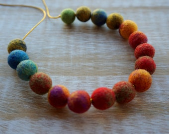 Colorful Necklace, Multicolored, Wool Jewelry, Eco Jewelry, Felt Balls, Felted Balls