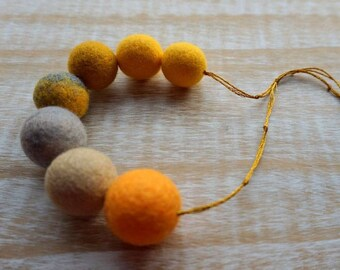 Colorful Statement Necklace, Felt Necklace, Felted Balls, Wool Jewelry, Saffron Necklace, Eco Jewelry, Textile Jewelry