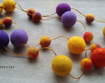 Colorful Necklace, Felt Necklace, Wool Necklace, Felt Jewelry, Eco Jewelry, Beaded Necklace, Yellow, Mauve, Orange, Red