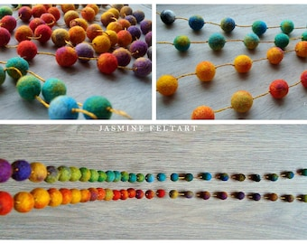 Long Colorful Necklace, 100 cm, Endless Row Necklace, Multicolored, Rainbow Necklace, Wool Jewelry, Eco Jewelry, Felt Balls, Felted Balls